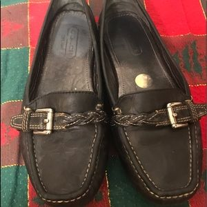 COACH EMORY BLACK LEATHER LOAFER BUCKLE  SIZE 7.5